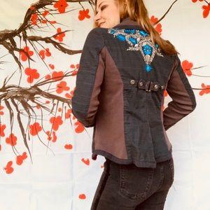 Free People beautiful embroidered plaid blazer 10